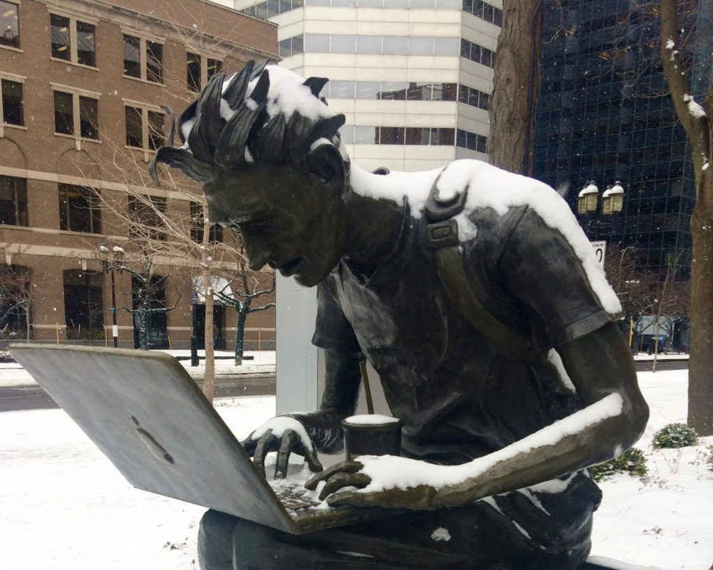 """The geek"" sculpture in Montreal"